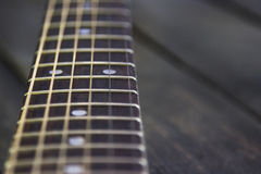 Electric guitar fingerboard selective focus Stock Photo