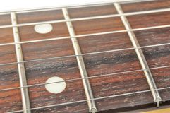 Electric Guitar Fingerboard with Strings Royalty Free Stock Images