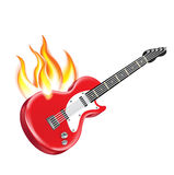 Electric guitar on fire isolated on white. Background Royalty Free Stock Photography