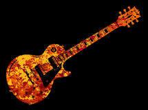 Electric Guitar Flames. An electric guitar in a flame style on a black background Royalty Free Stock Image