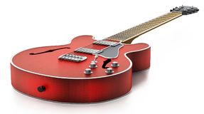 Electric guitar with flaming red wooden finish. 3D illustration Royalty Free Stock Photo