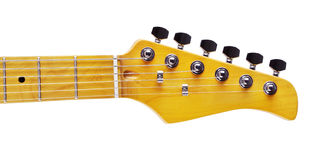Electric Guitar Fretboard. Yellow electric guitar fretboard, isolated on white stock photos