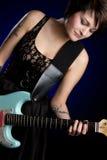 Electric Guitar Girl. Rock star electric guitar girl stock images