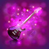 Electric guitar on glowing background vector. Electric guitar on glowing background with notes photo realistic vector Stock Image