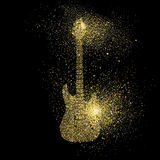 Electric Guitar gold glitter art concept symbol Royalty Free Stock Images