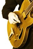 Electric guitar guitarist hand isolated. Guitar playing. Guitarist. Man hand and six-string electrical guitar isolated on white Royalty Free Stock Image
