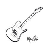 Electric Guitar Hand Drawn Stock Image