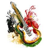 Electric guitar. Hand drawn grunge style art. Retro banner, card, t-shirt, bag, print, poster. Stock Photos