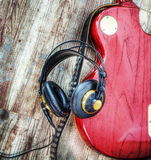 Electric guitar and headphones in hdr Stock Photography