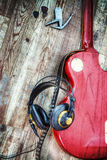Electric guitar and headphones in hdr Stock Photos