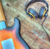 Electric guitar and headphones in hdr Stock Images