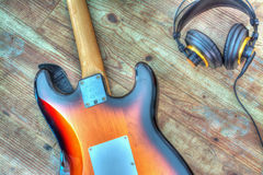 Electric guitar and headphones in hdr Stock Image