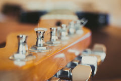Electric guitar headstock and chords detail, music symbol Royalty Free Stock Photos