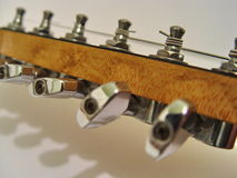 Electric guitar headstock. Tune isolated Royalty Free Stock Photo