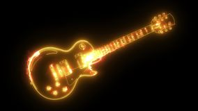 Electric guitar icon. digital animation. Electric guitar icon.digital laser animation stock footage
