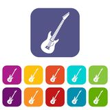 Electric guitar icons set Stock Images