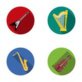 Electric guitar, loudspeaker,harp, saxophone, violin.Music instruments set collection icons in flat style vector symbol Royalty Free Stock Image
