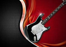 Electric Guitar on Luxury Background. Electric Guitar on red velvet with metal wave and black background with hexagons Royalty Free Stock Photos