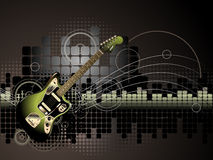 Electric Guitar Music Background. An illustrated background with an abstract design of an electric guitar on a grunge music equalizer pattern royalty free illustration