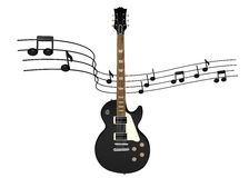 Electric guitar with music notes. Around it on a white background royalty free illustration