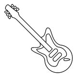 Electric guitar musical instrument thin line Stock Photos