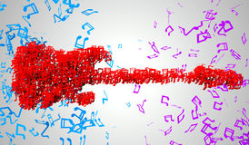 Electric Guitar Musical Note Particles 3D Royalty Free Stock Photo