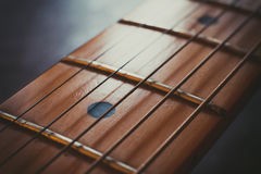 Electric guitar neck detail, music symbol Royalty Free Stock Photography