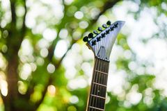Electric guitar neck and head with natural background. Electric guitar neck and head royalty free stock image