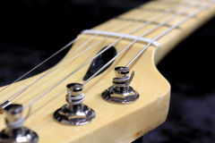 Electric guitar neck. Maple guitar neck headstock close Royalty Free Stock Images