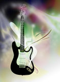 Electric guitar over abstract background. Beautiful black and white electric guitar on abstract background Stock Illustration