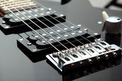Electric guitar. Photo of details of an electric guitar close up stock image