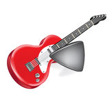 Electric guitar and plastic guitar plectrum isolated Stock Photography