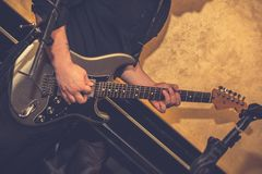 Electric guitar player royalty free stock photos