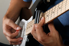 Electric guitar player performing song Royalty Free Stock Photo
