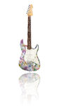 Electric guitar with reflection covered with euros. Electric guitar with reflection, covered with euros Stock Image