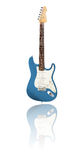 Electric guitar with reflection, metallic-blue. Electric guitar with reflection, white background Stock Photography
