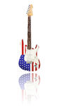 Electric guitar with reflection, U.S. Flag, white background Stock Image