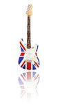 Electric guitar with reflection, Union Jack, white background Royalty Free Stock Photo