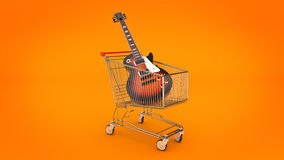 Electric guitar in shopping cart concept. Stock Image