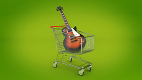 Electric guitar in shopping cart concept. Royalty Free Stock Photos