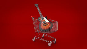 Electric guitar in shopping cart concept. Royalty Free Stock Photography