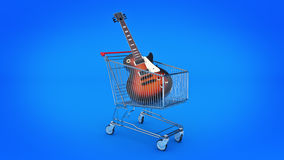 Electric guitar in shopping cart concept. Royalty Free Stock Images