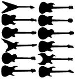 Electric guitar silhouettes stock images