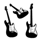 Electric guitar silhouettes isolated Stock Image