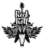 Electric guitar and skull wings with rock and roll. Vector illustration with an electric guitar and skull of goat and wings with inscription rock and roll Royalty Free Stock Photography