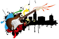 Electric guitar skyline Stock Photo