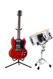 Electric guitar and snare drum Stock Photo