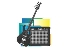 Electric guitar and speaker sound icon Stock Photo