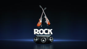 Electric Guitar with speakers 3D Stock Photos