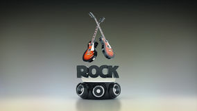 Electric Guitar with speakers 3D Stock Images